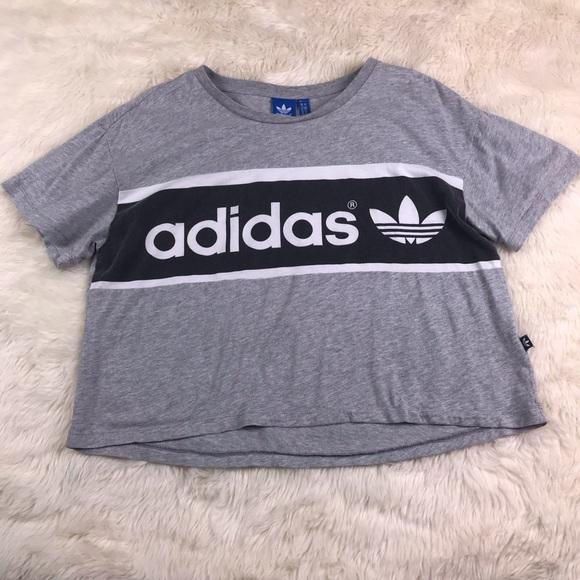 2f87a12b7 Adidas grey black stripe cropped tee size Small S.  M_5c49153b9fe486049267eb5a